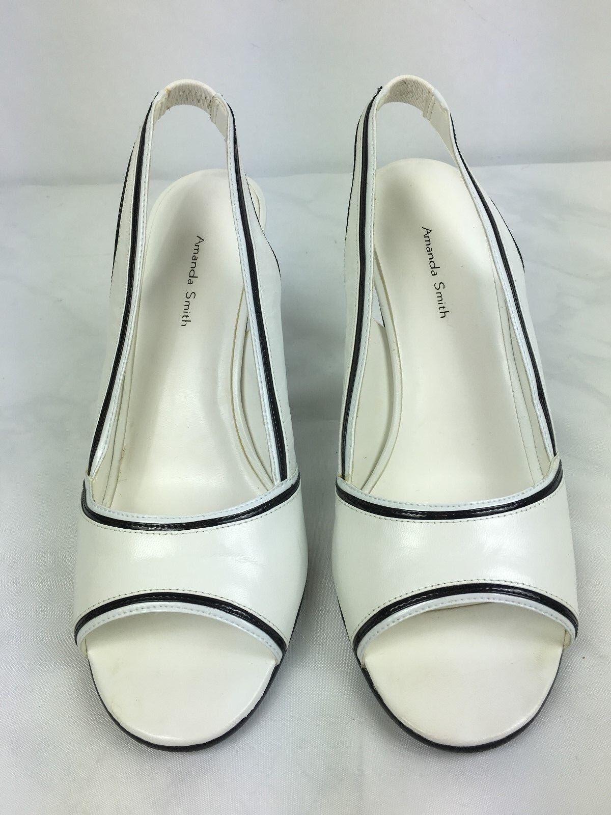 Amanda Smith Leather Ankle 8.5M Strap Shoes Greta Women's Size 8.5M Ankle White 3a2f46