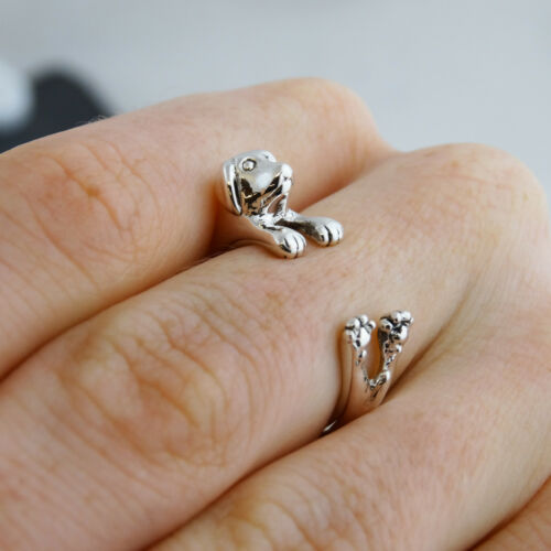 One Size 925 Sterling Silver Dogs Pet Puppy NEW Adjustable Dog Wrap Ring