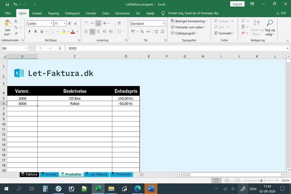 Fakturaprogram til den lille virksomhed, Faktura