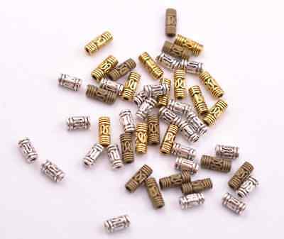 50//100Pcs Antique Silver//Gold//Bronze tube Charm Spacer Beads for Bracelet E3139