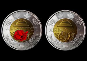 Canada 2018 BU $2 Toonie Armistice Poppy Coloured and Non-Colour coins set
