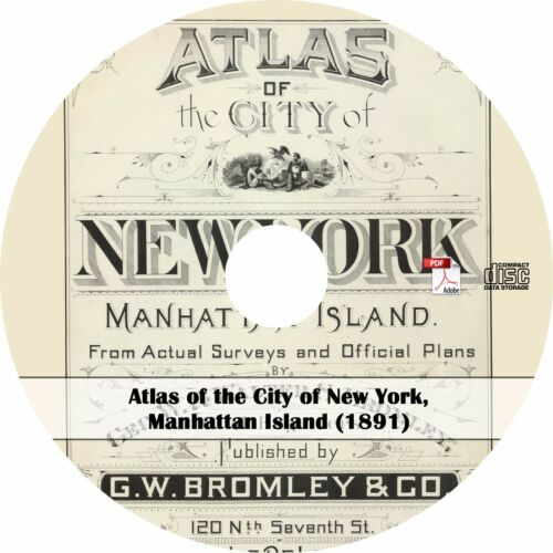 Manhattan Island 1891 Atlas of the City of New York NY Maps Book on CD