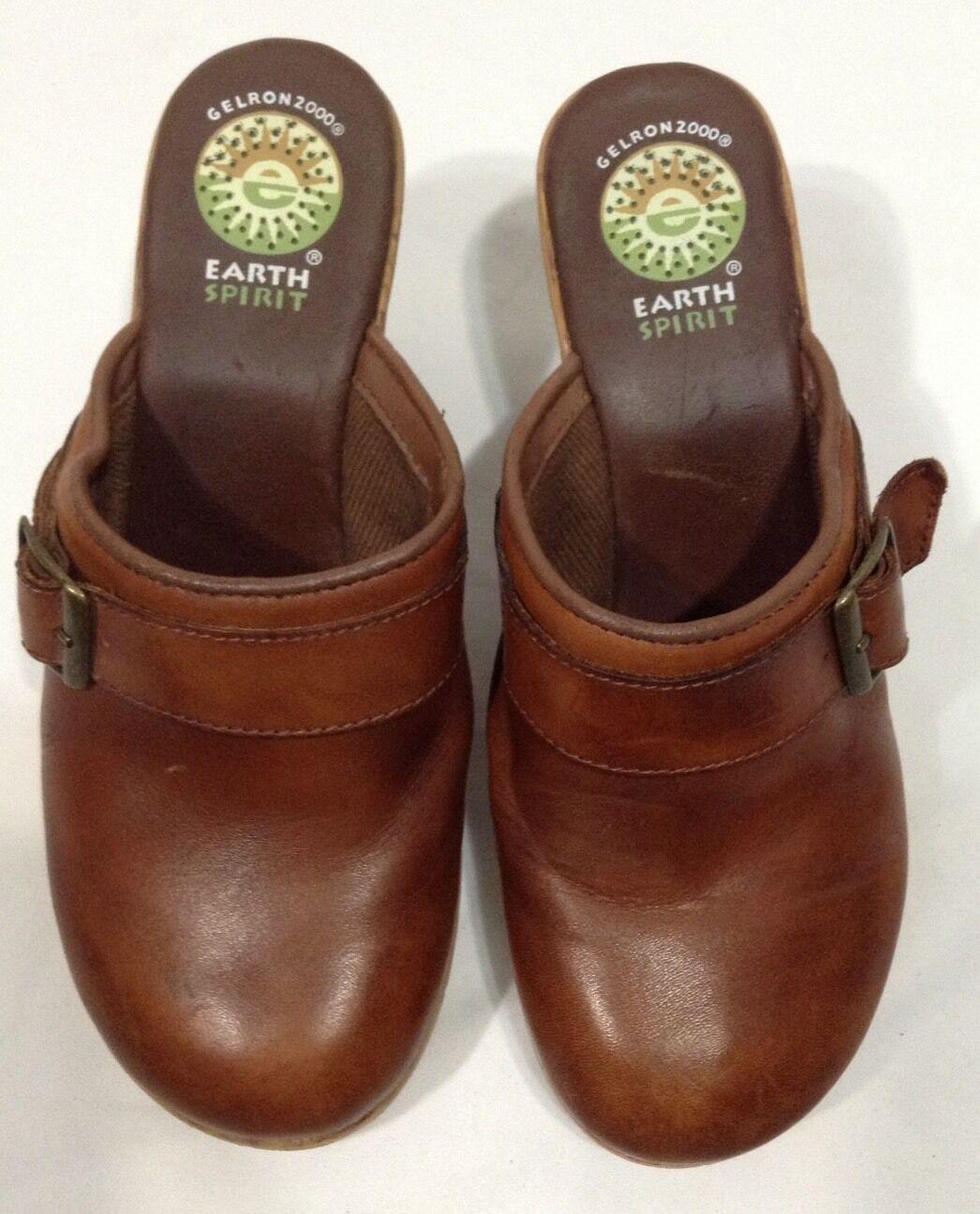 la terre esprit cuir emma feuillet de cuir esprit brun sur mules talons de chaussures sz 6 def9a8