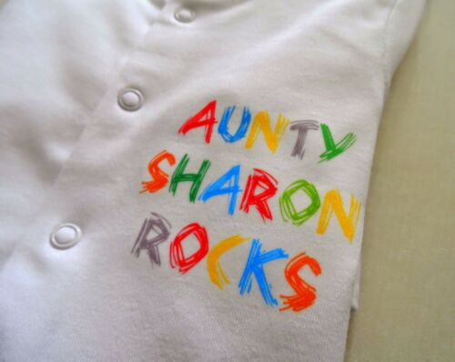 Aunty,Uncle new baby gift Funky PERSONALISED Baby Unisex Babygrow sleepsuit