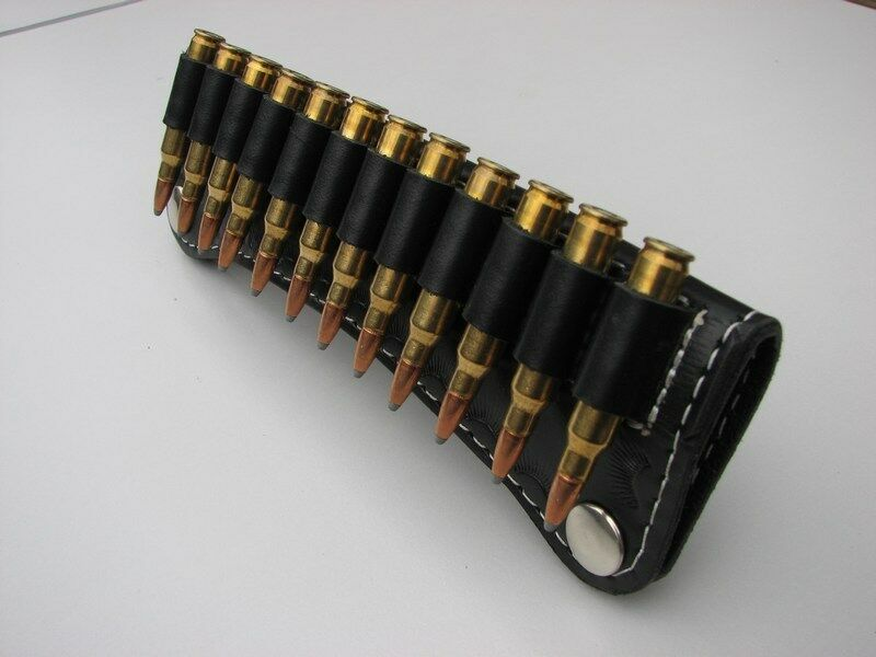 LEATHER HOLDS AMMO SLIDE POUCH - PRESS STUDS - HOLDS LEATHER 14 ROUNDS .38 .357 MAG / .44 MAG 58ab45