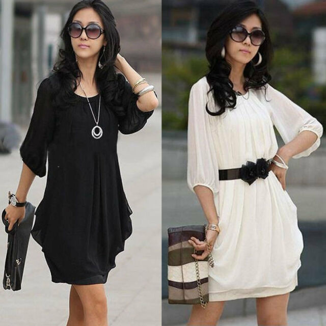 Women's Short Sleeve Chiffon Mini Dress Ladies Girls Casual Party Dress