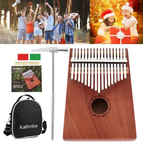 17-Key Kalimba Thumb Piano Toy Wooden Mahogany Finger Instrument Kit UK
