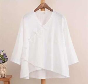cd93bf109df7a8 White Women Chinese Wrap Tops Blouse Linen Cotton V Neck Slant Shirt ...