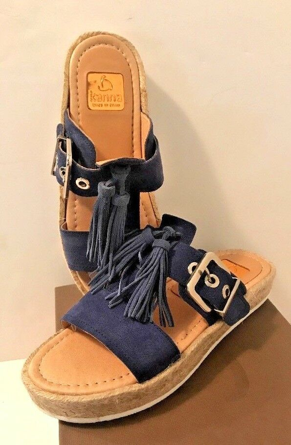 Kanna Suede Tassel Espadrille Buckle Low Slide Sandals Blue MSRP  140 Sz 6.5 NIB