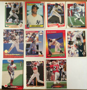 DEION-SANDERS-LOT-of-24-NM-cards-RC-Rookie-1990-1996-Yankees-Falcons-Prime-time