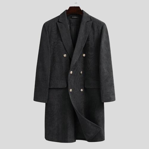 Mens Corduroy Trench Coat Single Breasted Long Jacket Dress Overcoat Outwear UK