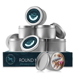 Candle Tins with Lids Metal Jars for Candles with Personalized Stickers for Lids