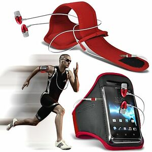 Quality-Sports-Armband-Gym-Running-Phone-Case-Cover-In-Ear-Headphones-Red