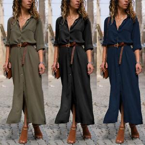 Womens-Casual-Button-Down-Shirt-Dress-OL-Ladies-Long-Sleeve-Long-Maxi-Dresses