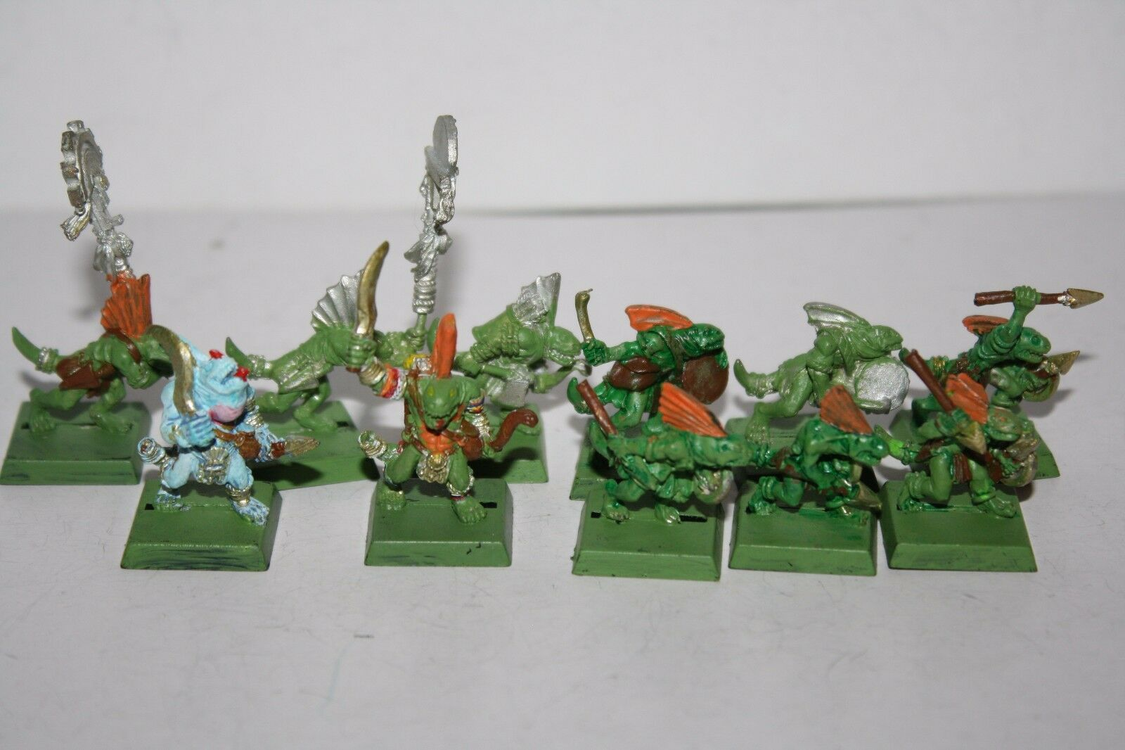 Warhammer Fantasy AOS Lizardmen Seraphon Skink Warriors w/ Command OOP Metal Lot