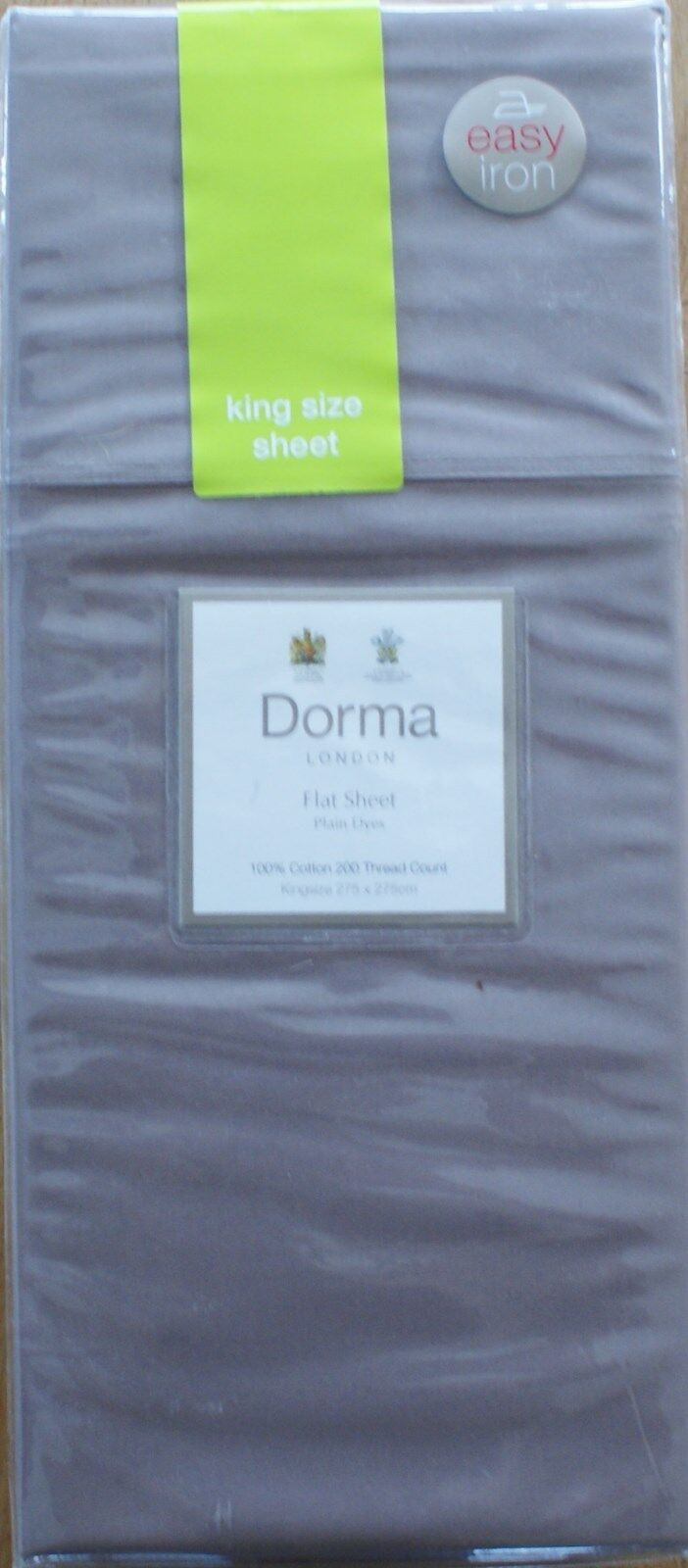 DORMA London Flat King Size Sheet Taupe 100% Cotton 200 Thread Count Brown