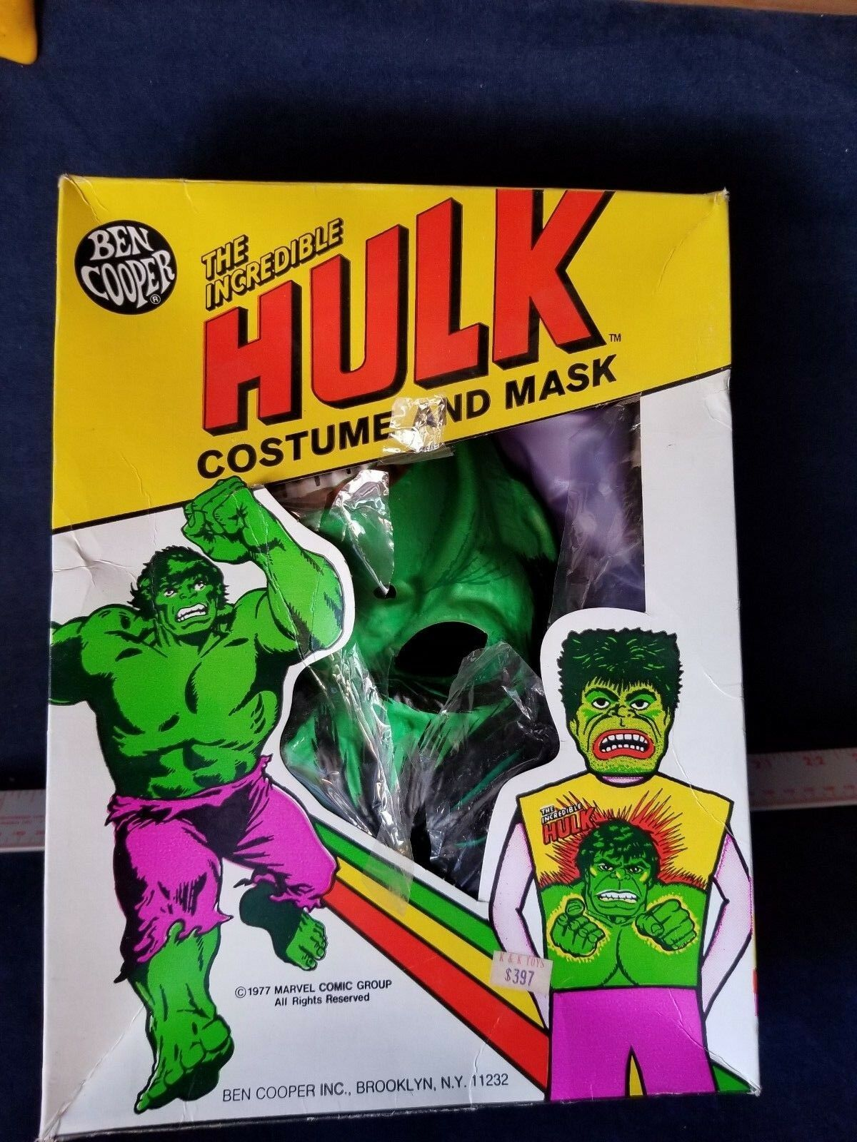 Vintage INCREDIBLE HULK Halloween COSTUME Ben Cooper 1977 boxed GREAT COND NICE