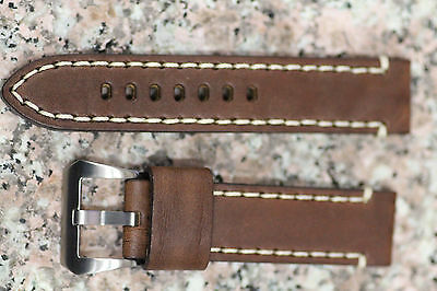 NEW Mens Thick Genuine Brown Leather Watch Band White Stitch Strap SS Buckle