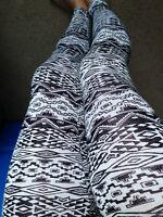 Aztec Tribal White Black Leggings Pants Rayon Junior S M L