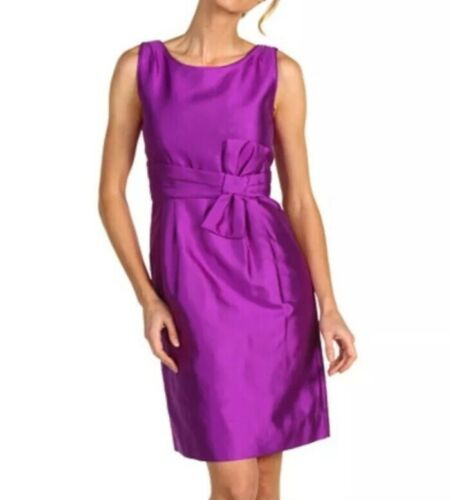 Kate Spade 12 Purple Silk Mademoiselle Bow Sheath