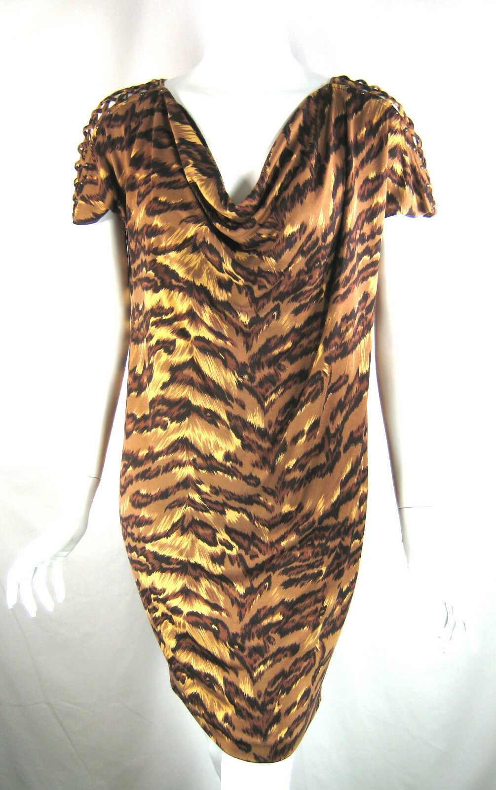 DIANE VON FURSTENBERG Brown Silk Tiger Print Gorro Gorro Gorro Dress Size 6 857eaa
