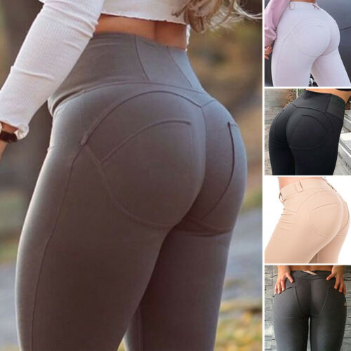 Women Yoga Pants Leggings Push Up Butt Lifter Workout Ruched Sports Gym Trousers