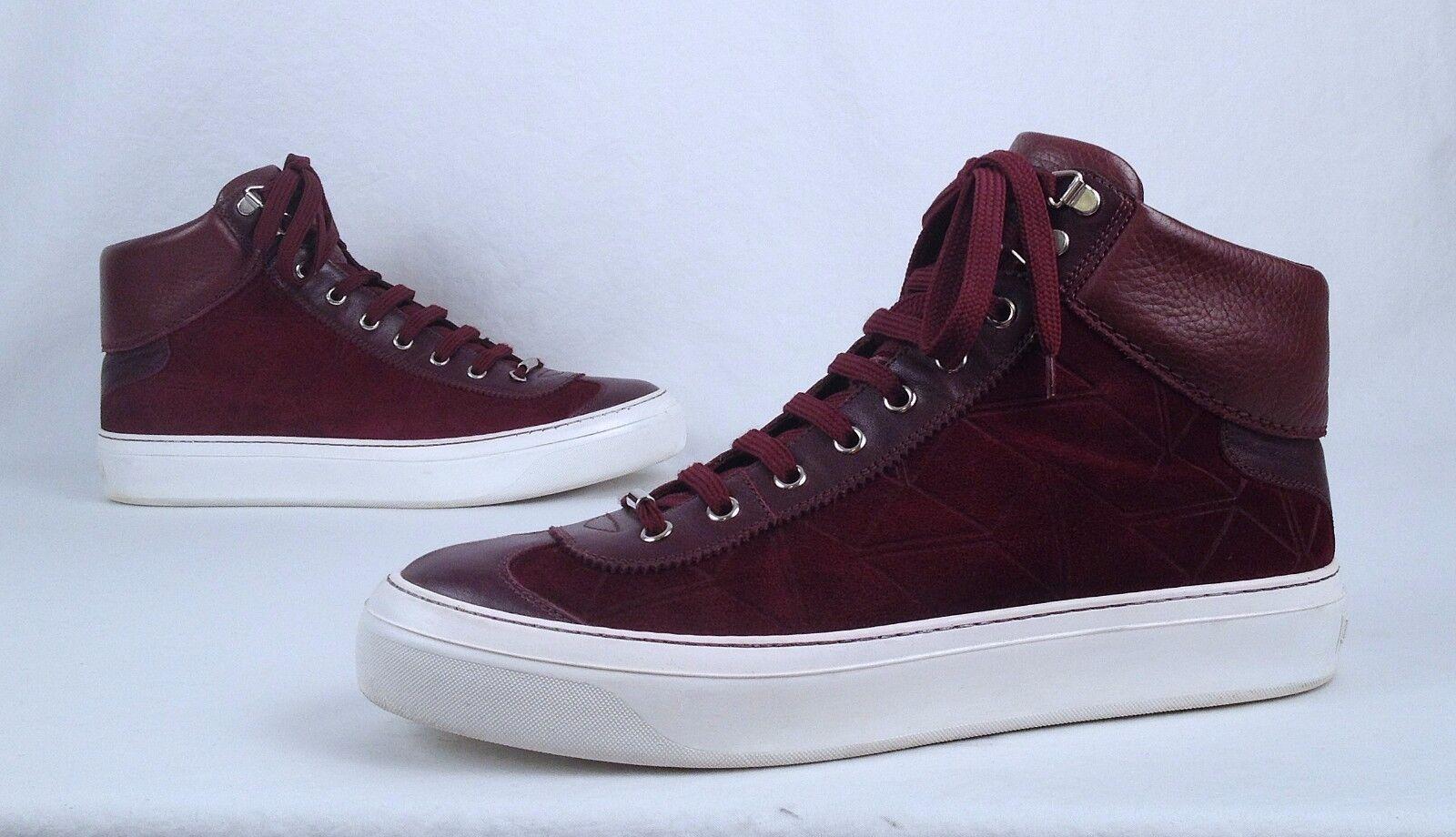 Jimmy Choo Hi-Top Sneaker- Maroon- 9 US  42 EU  (MB3)