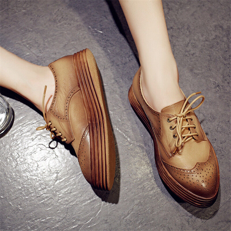 Wouomo Casual Vintage Lace Up Creepers Platform scarpe Thick Soles Oxfords Dimensione