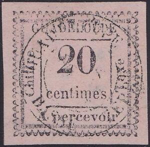 GUADELOUPE-Taxe-n-9a-oblitere-2-penche-Cote-1000-RARE-tirage-100ex