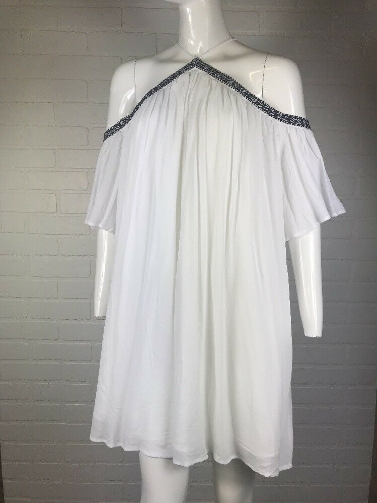 Sugar + Lips Sz L White Sleeveless Embroidered Edge Patterned Dress NWT