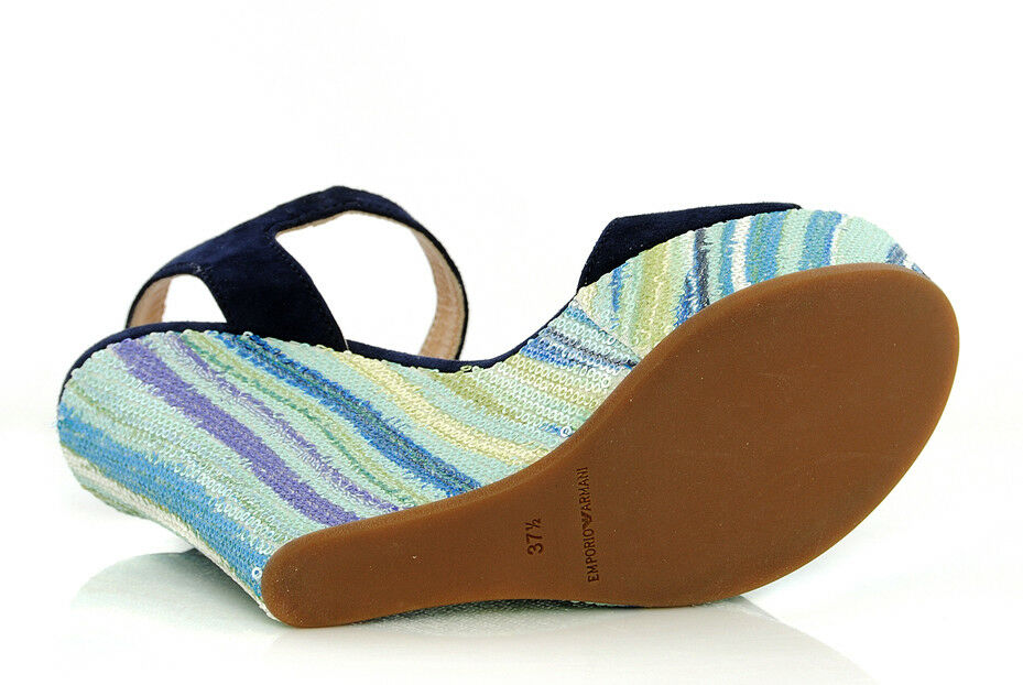 ARMANI  Donna EMPORIO ARMANI  Jeans Sandali X3U019 XE079 C240 Plateau Zeppe Blu d17ae0