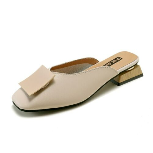 Details about  /New Elegant Leather Mules Women Mules Shoes Ladies Slippers Zapatos de mujer