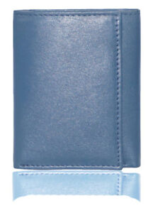 Heavy Duty Genuine Soft Touch Scratch Proof Leather Trifold Mens Wallet Blue
