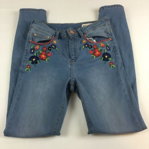Denim Jeans Taille Embroidery 32 26 Womens Floral Asos qxTOFF