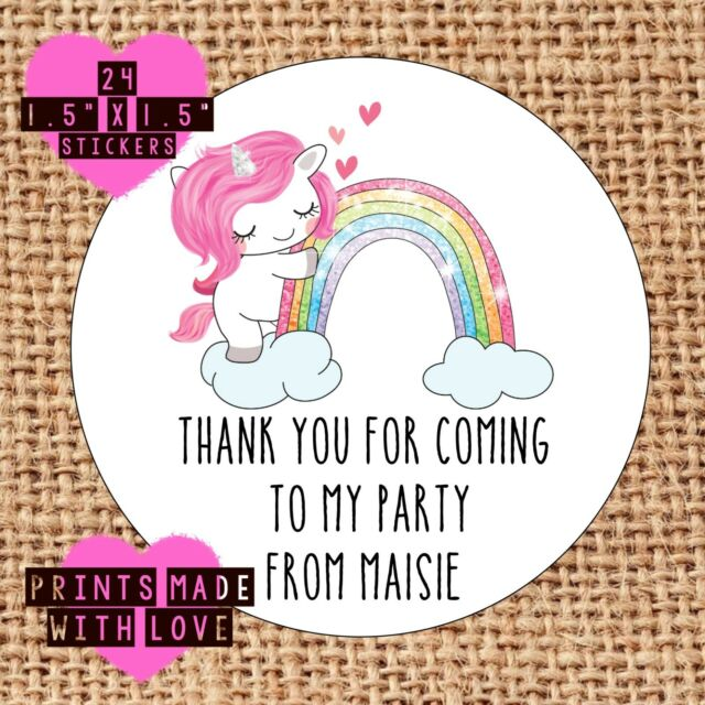 personalised unicorn 24 party bag stickers sweet cone labels thank