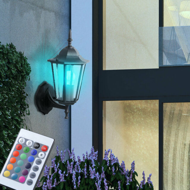 2er Set RGB LED Wand Außen Bereich Lampen dimmbar Veranda Leuchten Fernbedienung