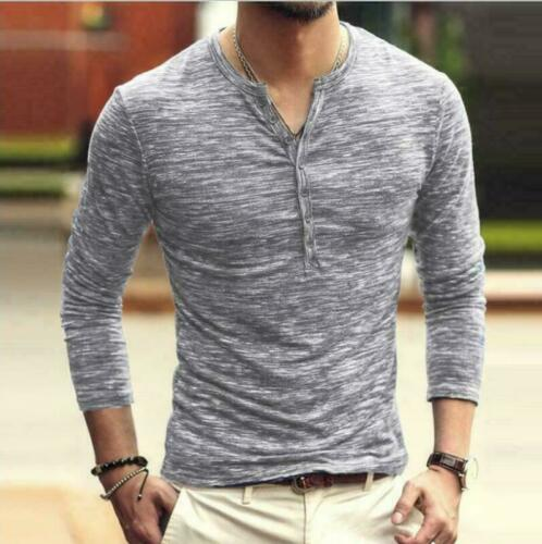 Cotton Long Casual Sleeve Slim Mens   Blouse Fit V Neck Muscle T-Shirt Tee Tops