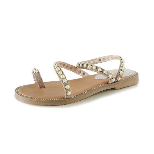 Sandals elegant low slippers beige light comfortable like leather 9950