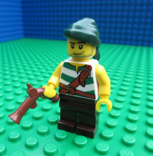 Lego Pirate with Green Stripes minifig minifigure green bandana hand cannon