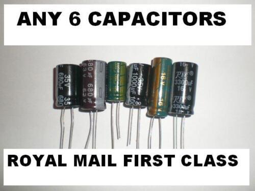 Tout 6 Condensateurs diverses valeurs Mixte valeurs différentes TV Power Supply 1000uf 25