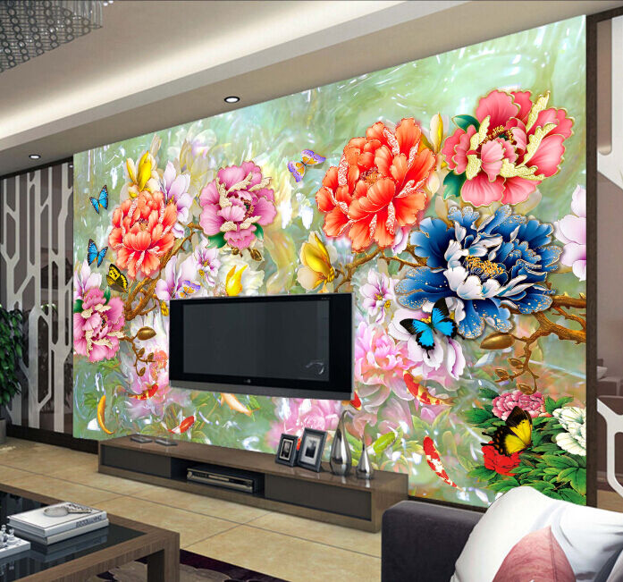3D Farbeful Flowers 6 Paper Wall Print Decal Wall Wall Murals AJ WALLPAPER GB