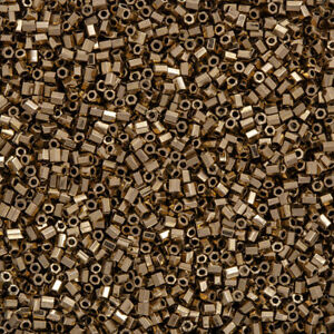 Miyuki-Hex-Cut-11-0-2mm-Seed-Beads-Metallic-Dark-Bronze-12g-Q15-2
