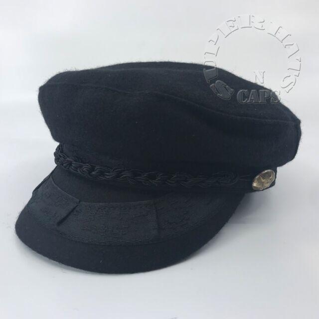 Men s Greek Fisherman Sailor Fiddler Fall Winter Wool Driver Flat Hat Cap  Black e0e1693838b