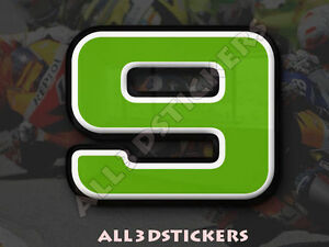 3D-Stickers-Resin-Domed-NUMBER-9-NINE-Color-Green-100-mm-4-inches-Adhesive