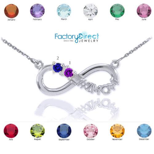 14K White Gold Infinity #1MOM Necklace Two CZ Birthstones September Oct Nov Dec