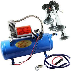Chrome-150-DB-4-Trumpet-Truck-Train-Air-Horn-Kit-With-6-Liters-Air-Compressor