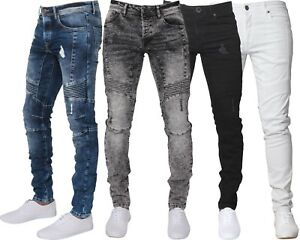 Enzo-Jeans-Hommes-Dechire-Designer-Extensible-Super-Coupe-Skinny-Motard-Pantalon