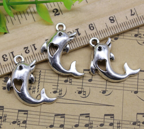 Retro DIY Cute Dolphins Alloy Charm Pendant Jewelry Making 24x23mm