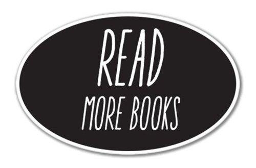 Lire plus de livres Ovale Vinyle Autocollant-sélectionnez la taille