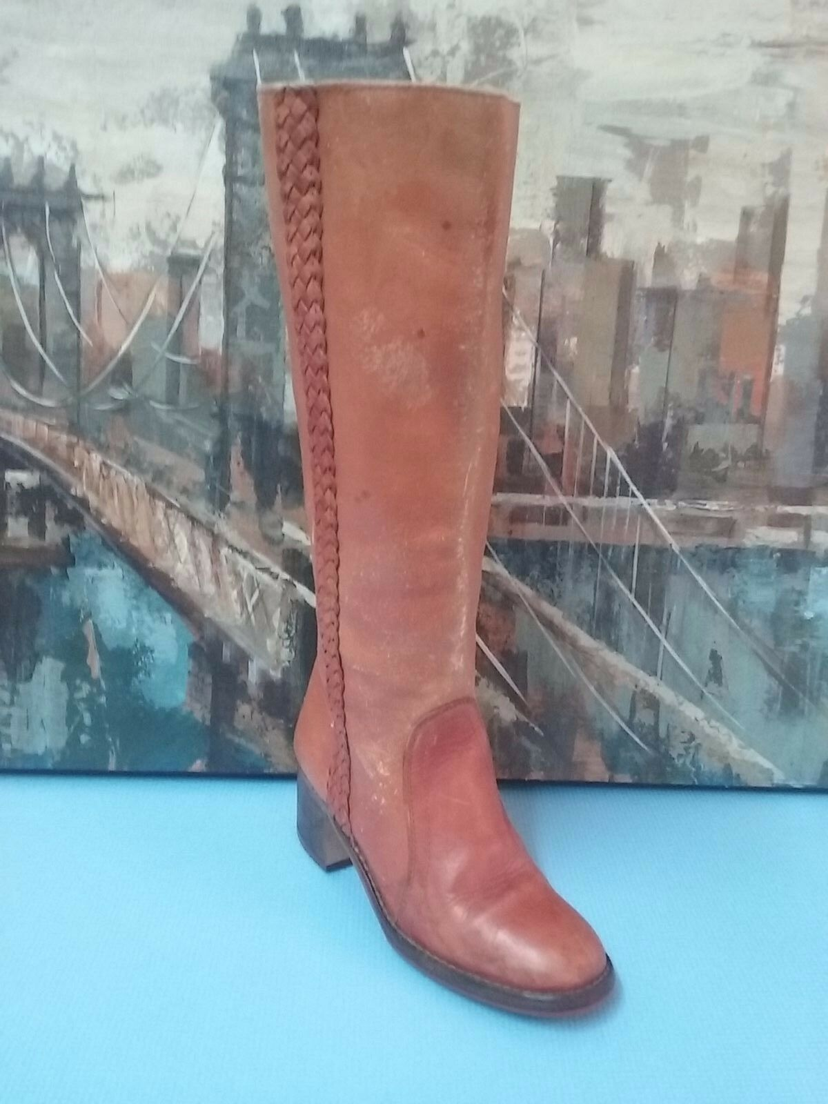 damen damen damen VTG TALL BRN LEATHER BRAIDED COWBOY WESTERN CAMPUS Stiefel 7.5 B 91f8f1